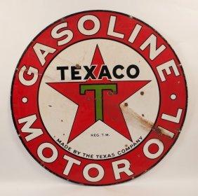 Texaco Gasoline & Motor Oil Porcelain Sign