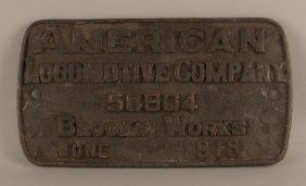 Np 1783 - 2-8-2 Steam Locomotive Builder's Plate #58604