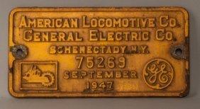 Oim 1102 - Rs-2 Diesel Locomotive Builder's Plate