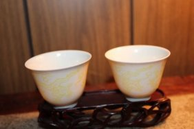 Pair Antique Chinese Hand Painted Porcelain Cups