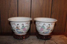 Pair Antique Chinese Hand Painted Porcelain Vases