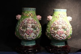 Pair Antique Chinese Hand Carved Porcelain Vases