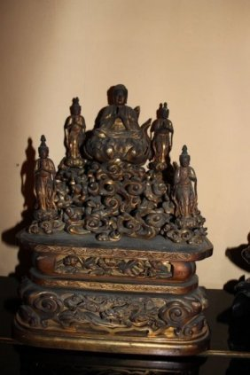 Antique Asian Gilt Wood Buddha Statue