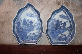 Pair Antique Chinese Blue And White Plates