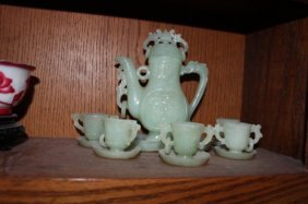 Antique Chinese Jade Teapot And Set Of Cups