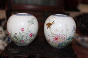 Pair Antique Chinese Porcelain Water Jar
