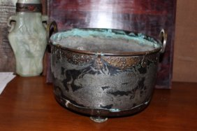 Antique Chinese Silver Inlaid Bronze Incense Burner