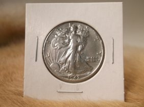 1942 D Us Silver Walking Liberty Half Dollar