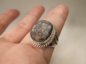 Vintage Navajo Sterling Silver Jasper Ring 8