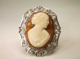 Beautiful Art Nouveau Sterling Silver Cameo Brooch