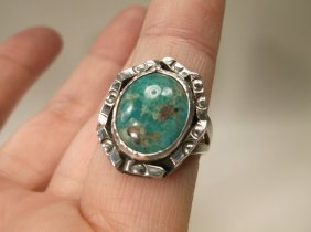 Beautiful Old Pawn Sterling Turquoise Ring 8