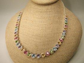 Stunning Sterling Silver Multi Gemstone Necklace