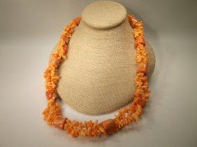 Incredible Huge Genuine Orange Coral Necklace