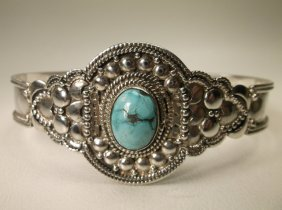 Beaut Huge Sterling Silver Turquoise Cuff Bracelet