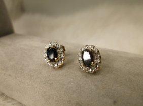 Gorg Gold Over Sterling Gen Diamond Sapphire Earrings