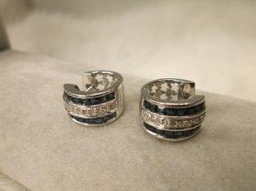 Gorg Sterling Silver Gen Diamond Sapphire Earrings