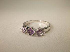 Gorgeous Sterling Silver Amethyst Ring 10