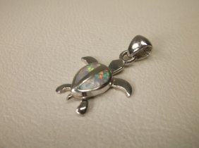 Gorgeous Sterling Silver Opal Turtle Pendant