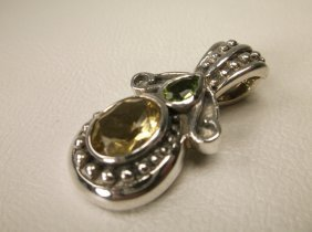 Gorgeous Sterling Silver Citrine Peridot Pendant