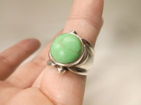 Beautiful Sterling Silver Green Turquoise Ring 6