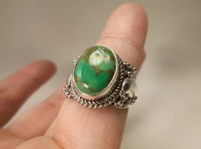 Gorg Sterling Silver Green Turquoise Dolphin Ring 7