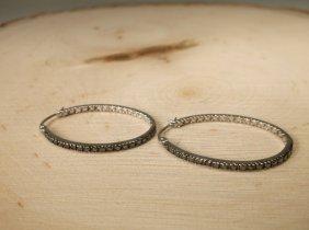 Gorgeous Sterling Genuine Diamond Earrings