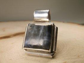 Gorgeous Heavy Sterling Silver Lapis Pendant