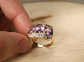 Stunn Sterling Genuine Diamond 4.5ct Amethyst Ring 9