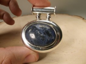 Gorgeous Huge Sterling Silver Lapis Pendant Taxco