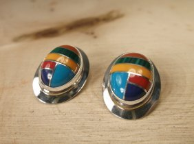 Gorgeous Sterling Silver Navajo Turquoise Earrings