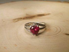 Beautiful Sterling Genuine Diamond Ruby Ring 7