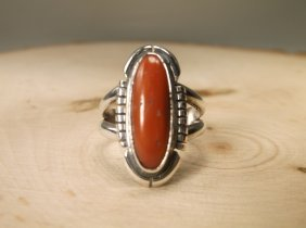 Gorgeous Navajo Sterling Silver Red Coral Ring 7 Fh