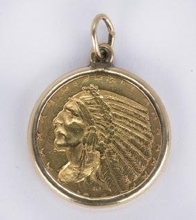 US $5 Half Eagle gold coin and 14k yellow gold pendant