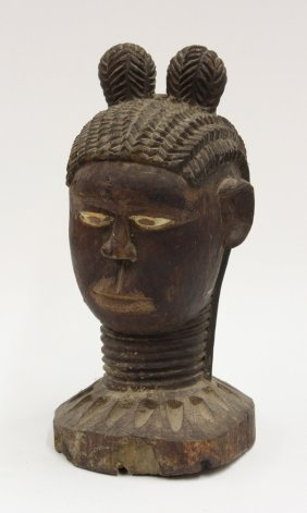Carved Wooden Bowl Bust West Africa
