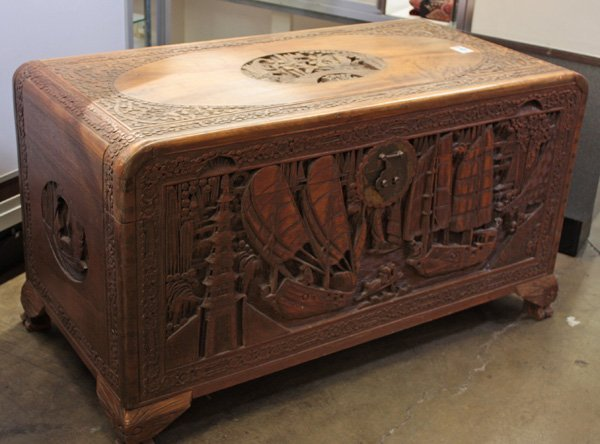 Chinese carved camphor wood chest lot