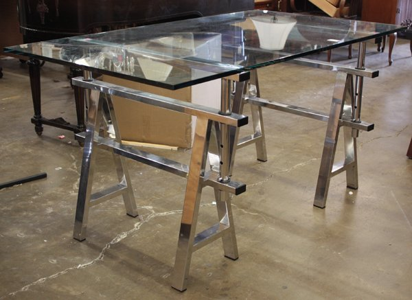 623 Pair Of Chrome Sawhorse Table Bases Lot 623