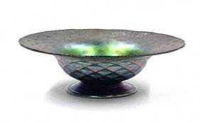 Iridescent Art Glass Compote