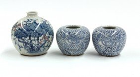 Three Chinese Blue-and-White Porcelains