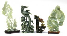 Four Chinese Jade/Hardstone Carvings, Birds