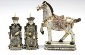 Chinese Pieced Bone Emperor, Empress, Horse