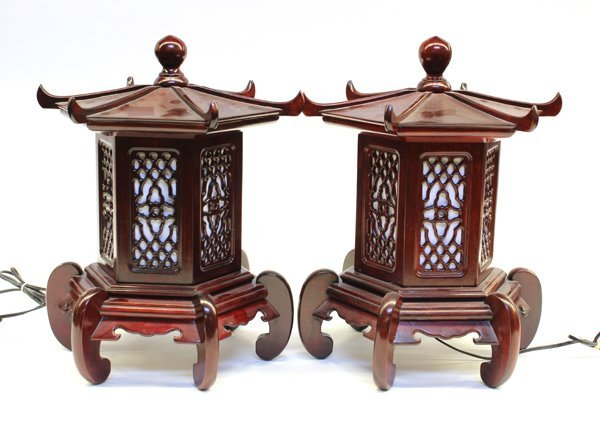 29 Pair Japanese Style Rosewood Lantern Lamps Lot 29