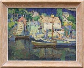 Painting, Walter Farndon, Village Harbor Scene