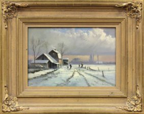 Painting, Andre Balyon, Snowy Scene