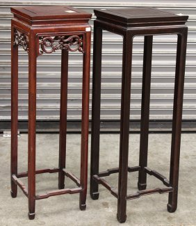 Two Chinese Wooden Flower Stands