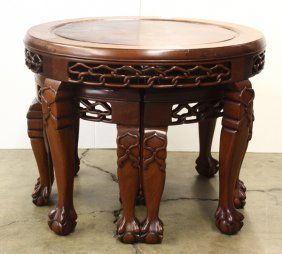 Chinese Hardwood Low Table And Stools