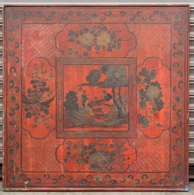 Chinese Pigment And Lacquered Wood Panel