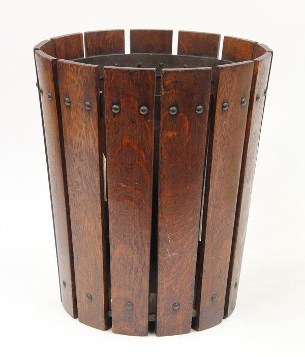 Oak Waste Basket ~ Gustav stickley oak waste basket lot