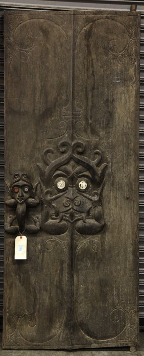 Dayak style, Indonesia carved door, second half 20th : Lot ...