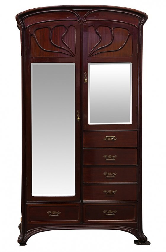 monumental art nouveau armoire lot 2100. Black Bedroom Furniture Sets. Home Design Ideas