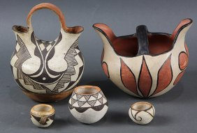 (lot Of 5) Southwest Pottery Group